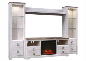 Willowton Whitewash Entertainment Center w/Fireplace Insert Infrared