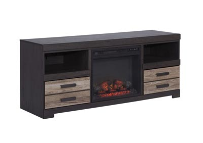 "Harlinton Warm Gray 63"" TV Stand w/Fireplace Insert Infrared"