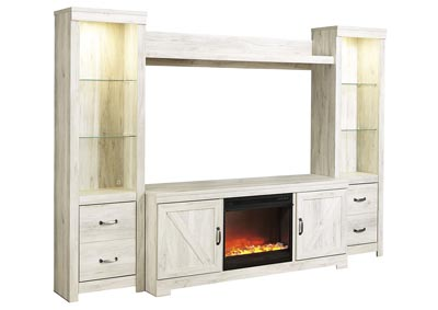 Bellaby Whitewash Entertainment Center w/Black Glass/Stone Fireplace Insert