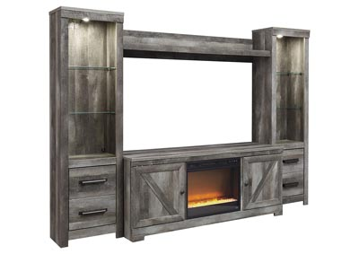 Image for Wynnlow Gray Entertainment Center w/Black Glass/Stone Fireplace Insert