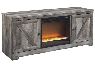 Wynnlow Gray LG TV Stand w/Black Glass/Stone Fireplace Insert