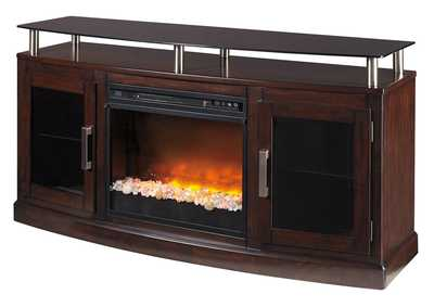 Image for Chanceen Dark Brown Medium TV Stand w/Glass/Stone Fireplace