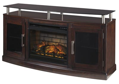 "Chanceen Dark Brown 60"" TV Stand w/Fireplace Insert Infrared"