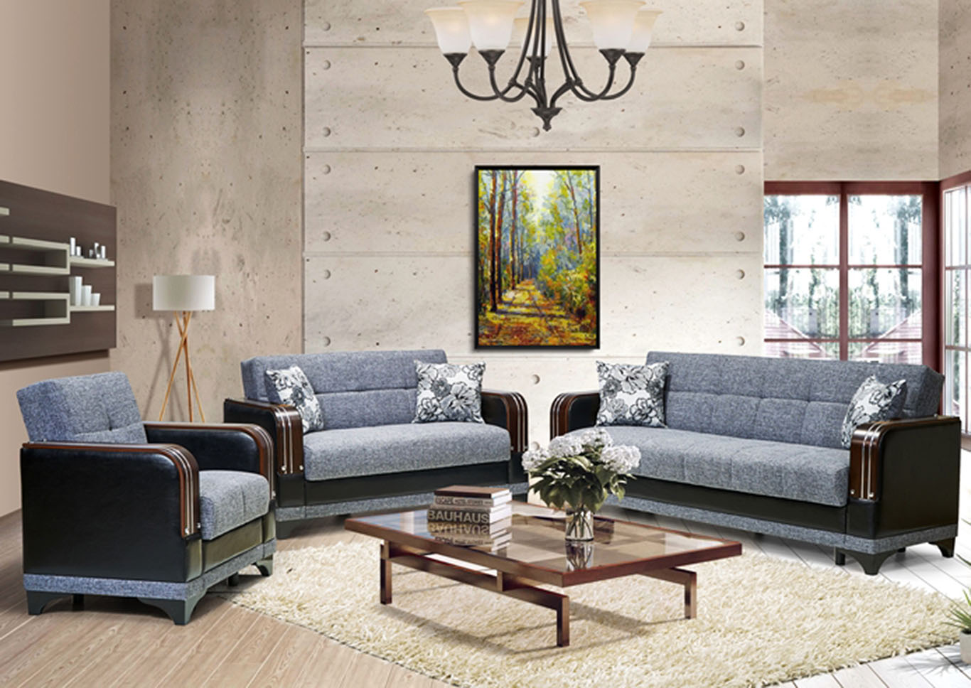 Almira Gray Polyester Love Seat,CasaMode Functional Furniture
