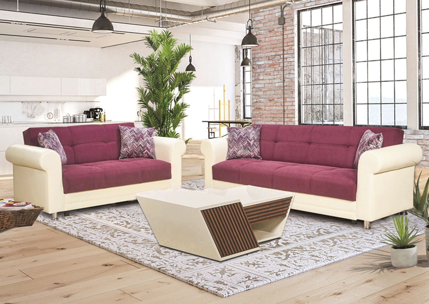 Avalanche Burgundy Chenille Love Seat,CasaMode Functional Furniture