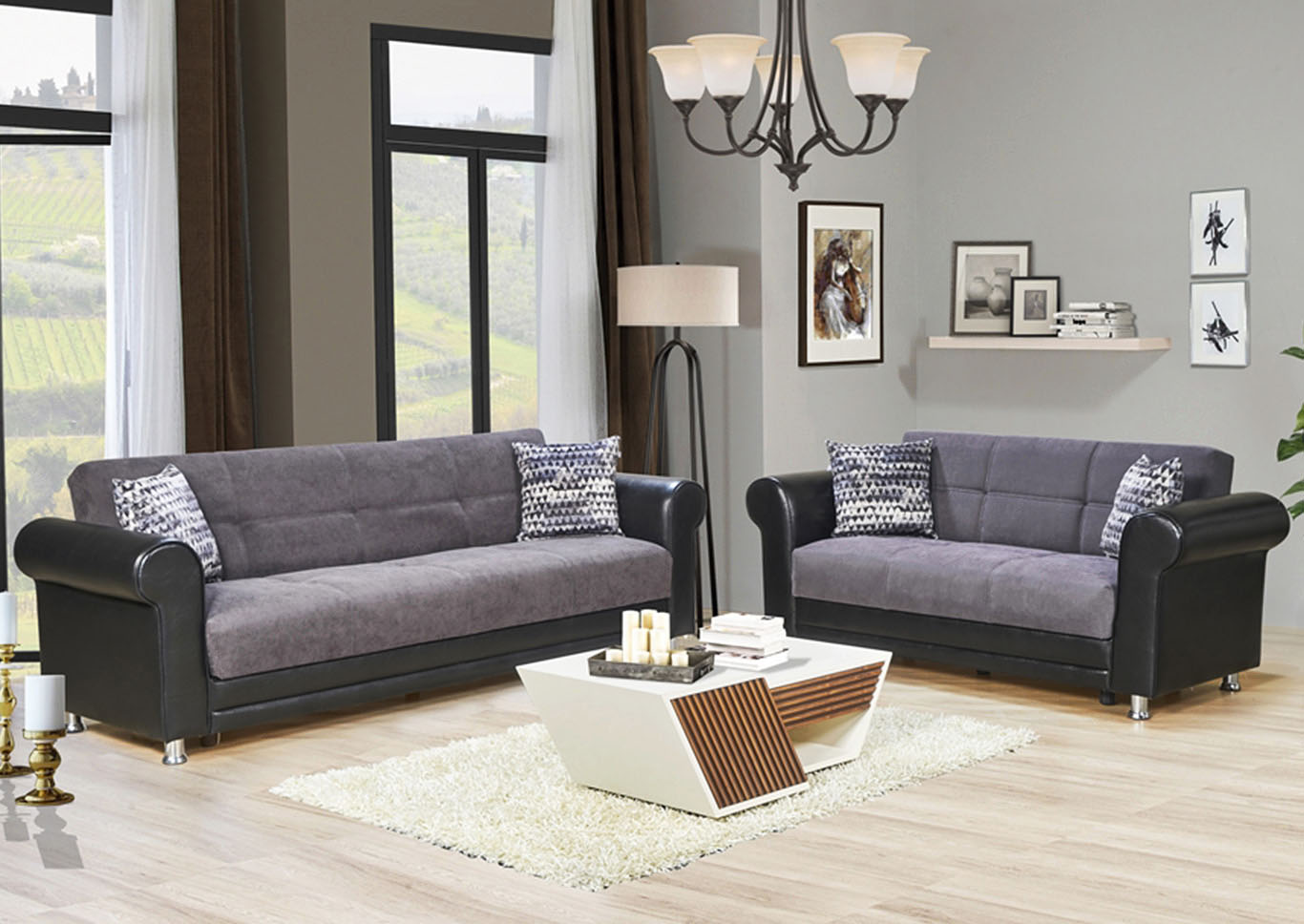 Avalanche Gray Chenille Sofabed & Loveseat,CasaMode Functional Furniture