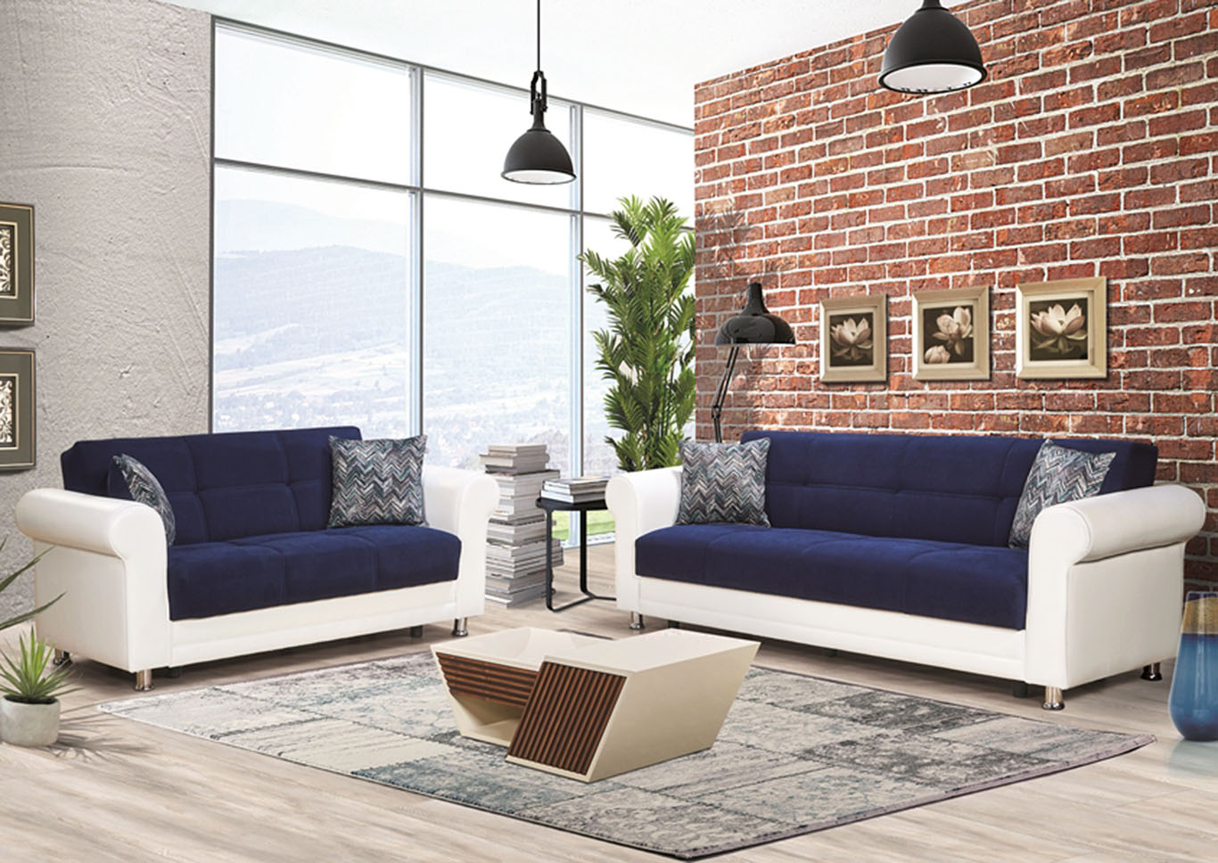 Avalanche Navy Blue Chenille Sofabed & Loveseat,CasaMode Functional Furniture
