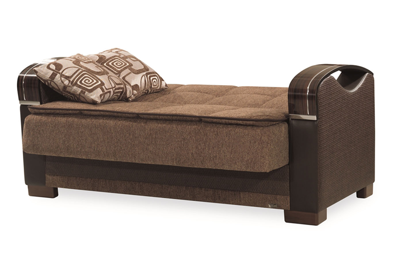 Bristol Brown Chenille Love Seat,CasaMode Functional Furniture