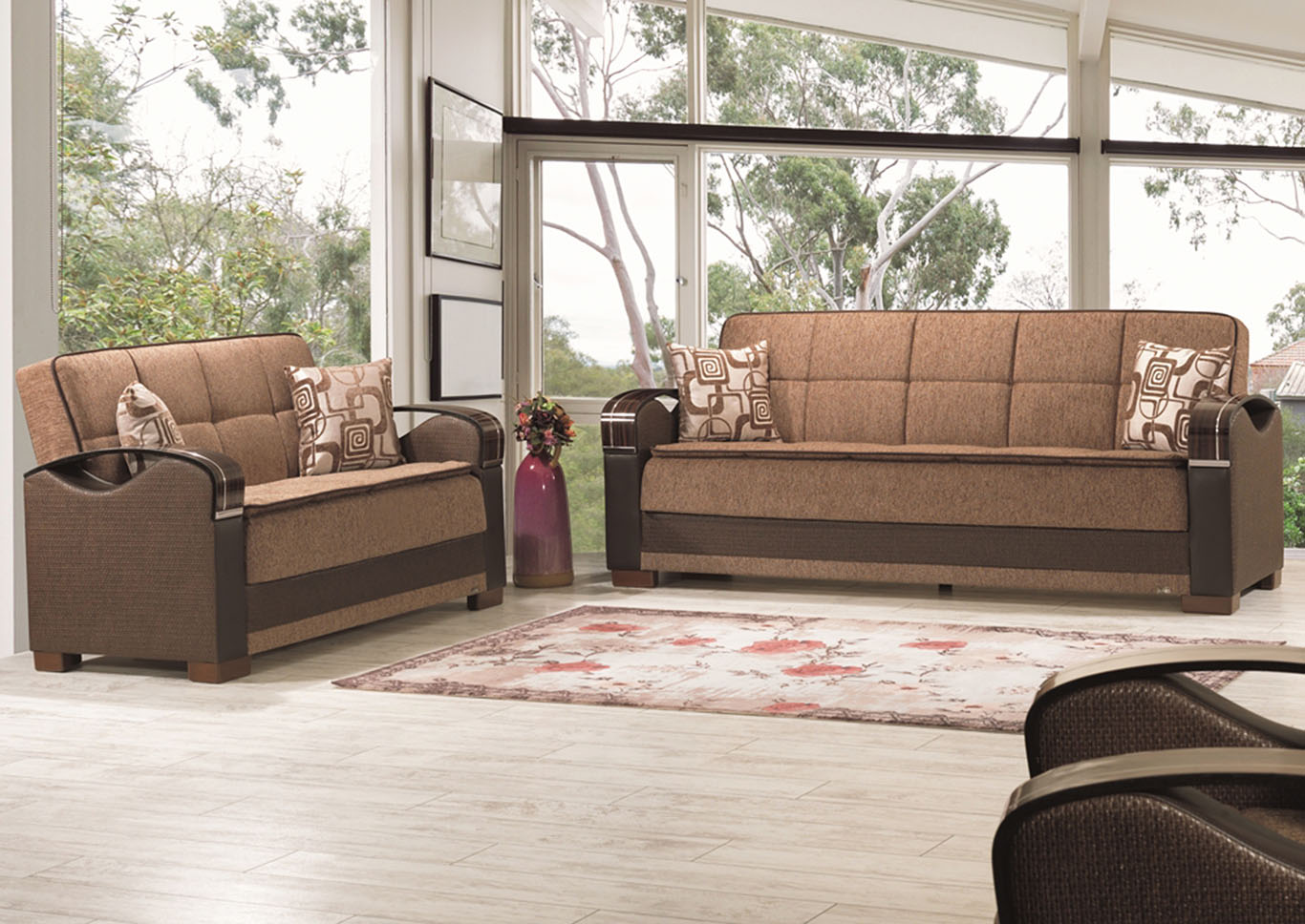 Bristol Brown Chenille Sofabed & Loveseat,CasaMode Functional Furniture