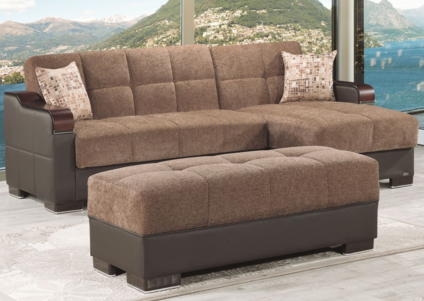 Downtown Brown Chenille Ottoman,CasaMode Functional Furniture