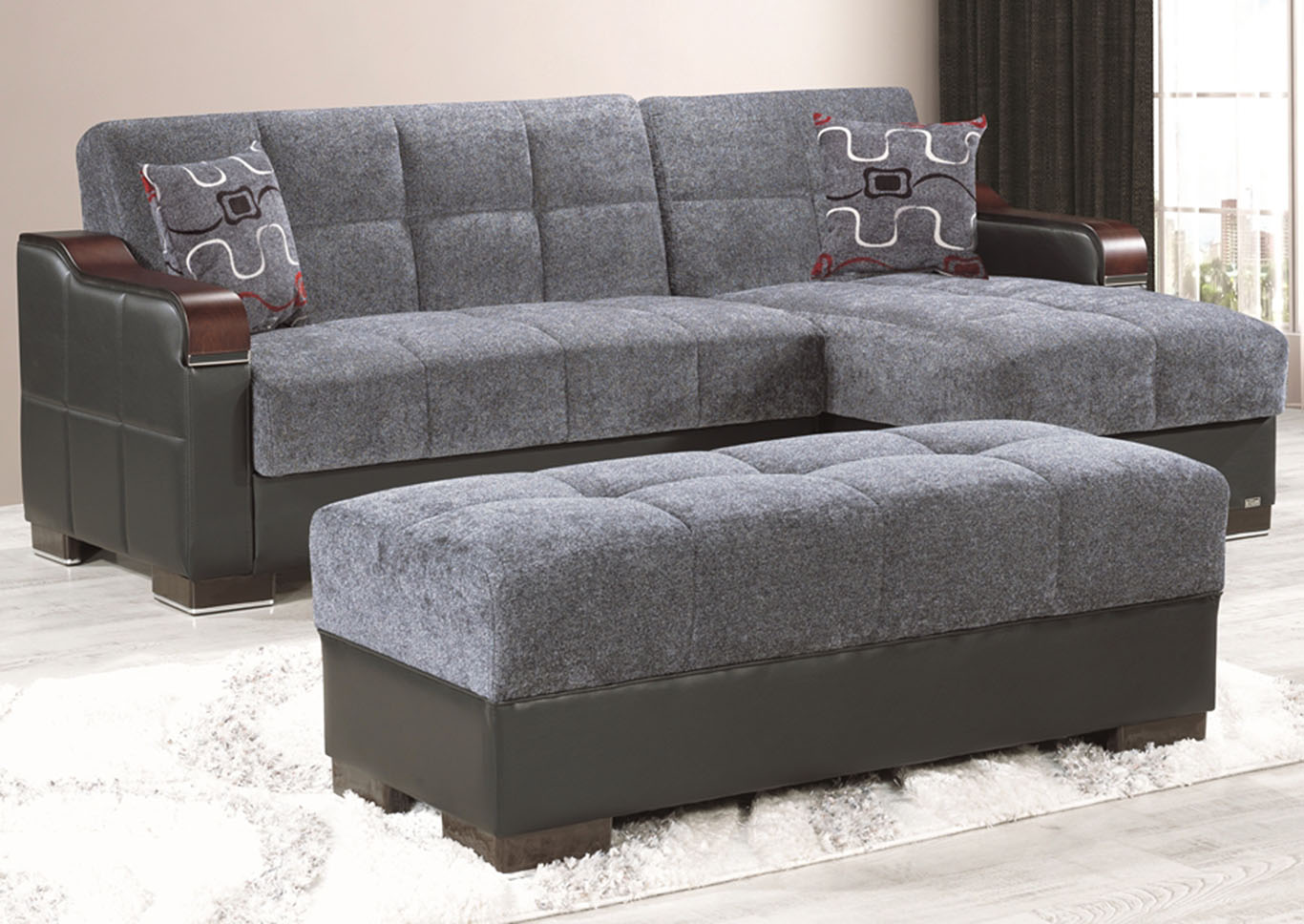 Downtown Gray Fabric Chenille Ottoman,CasaMode Functional Furniture