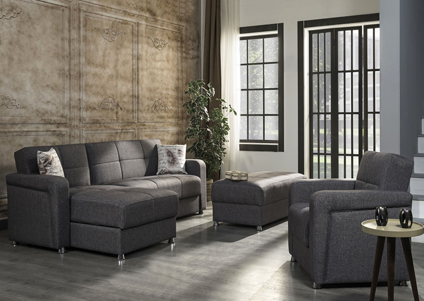 Harmony Gray Sectional,CasaMode Functional Furniture