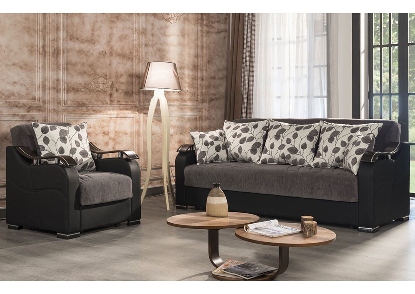 Horizon Gray Chenille Sofabed,CasaMode Functional Furniture