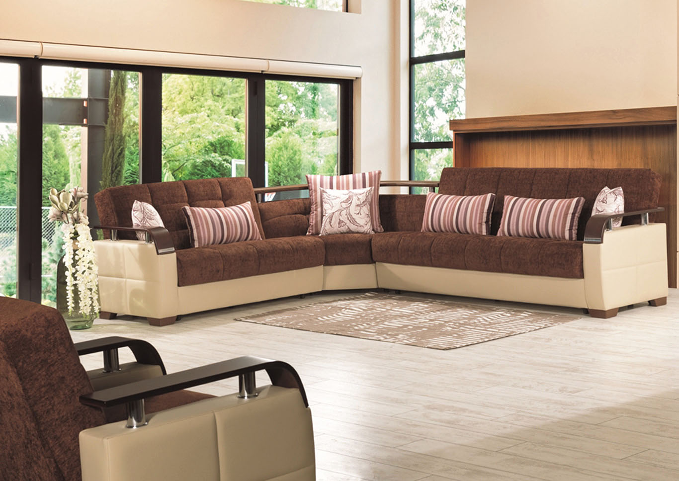 Karma Brown/Cream Sectional,CasaMode Functional Furniture