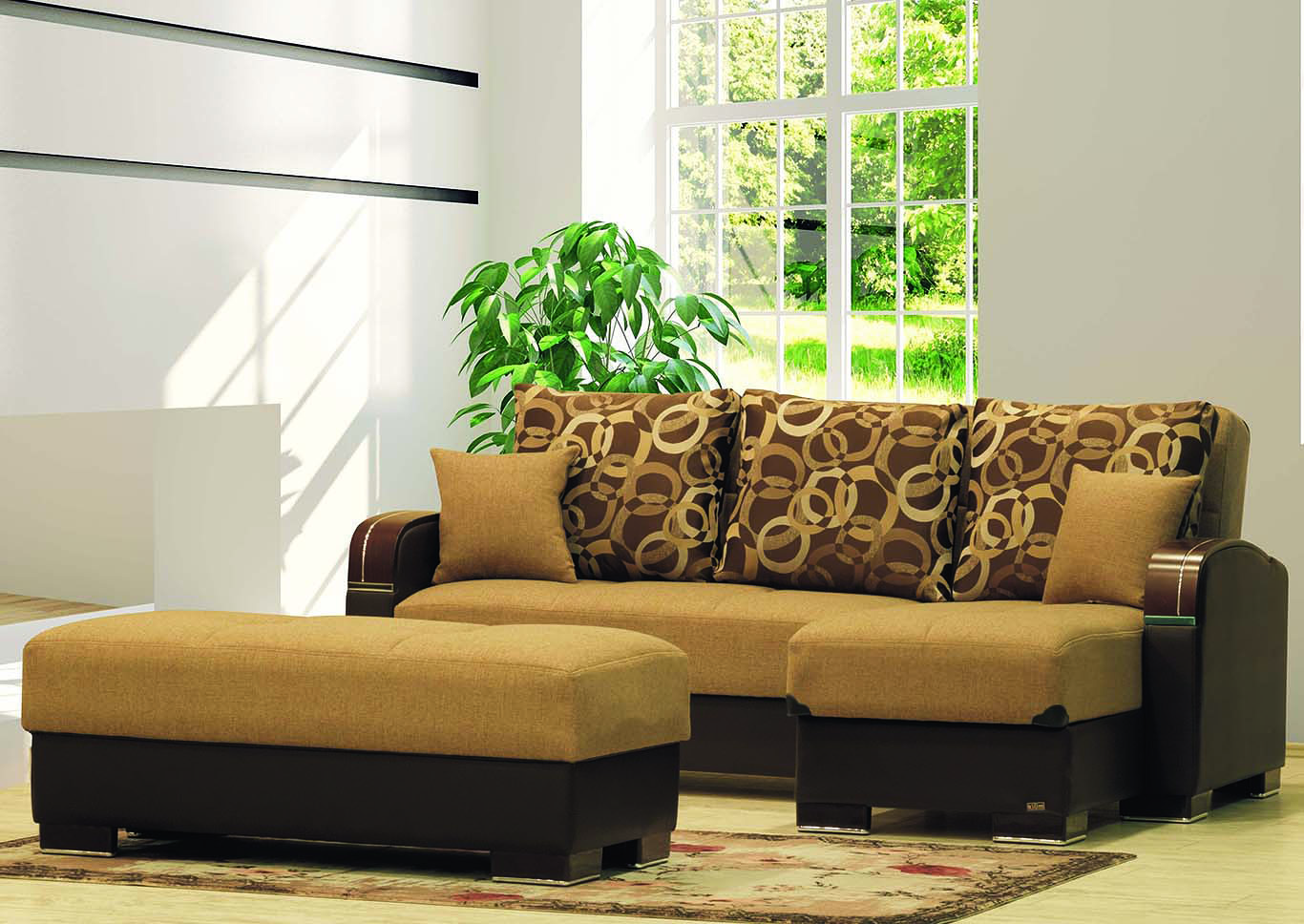 Maxymoda Brown Polyester Sectional L+C,CasaMode Functional Furniture