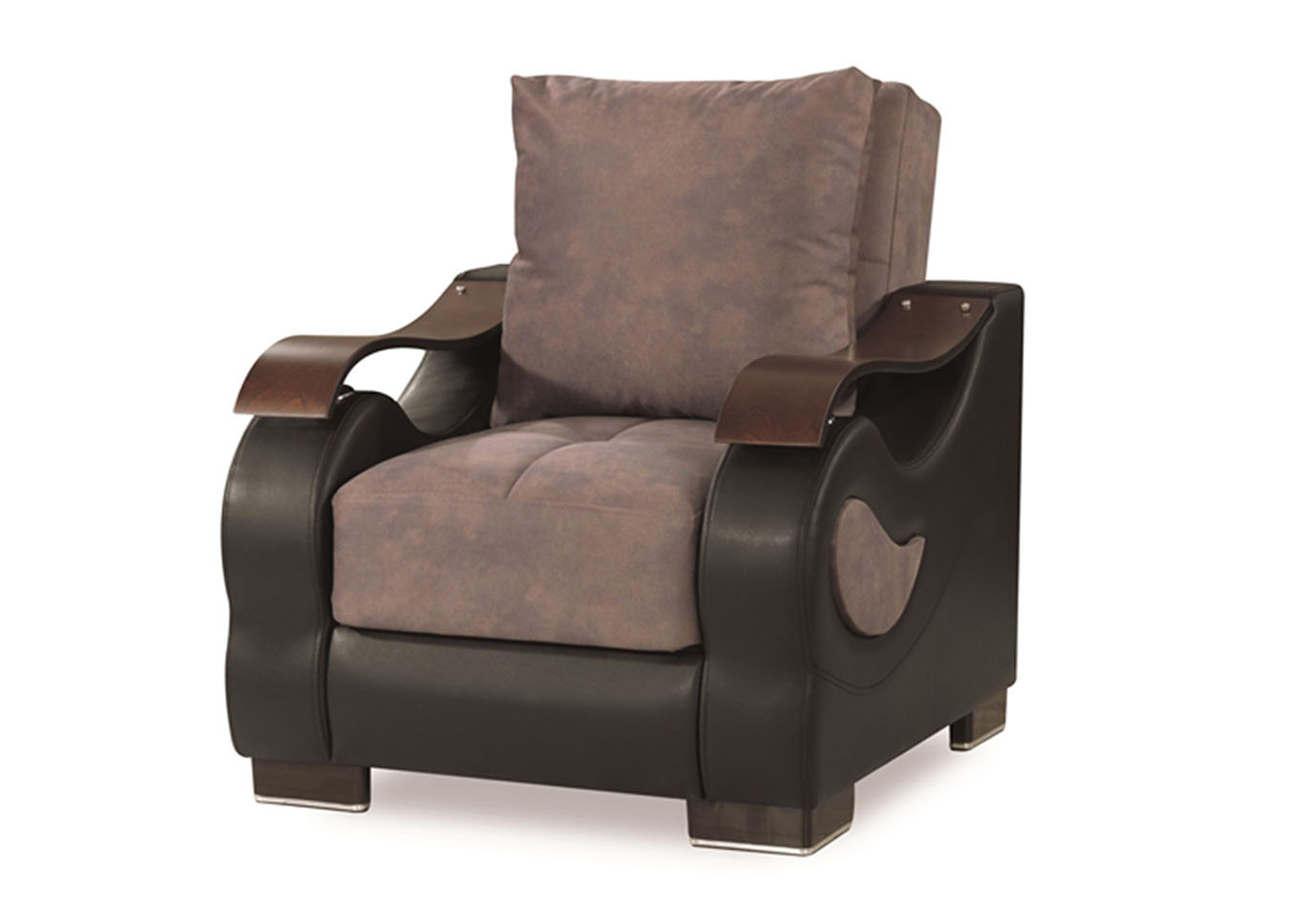 Metroplex Gray Microsuede Chair,CasaMode Functional Furniture