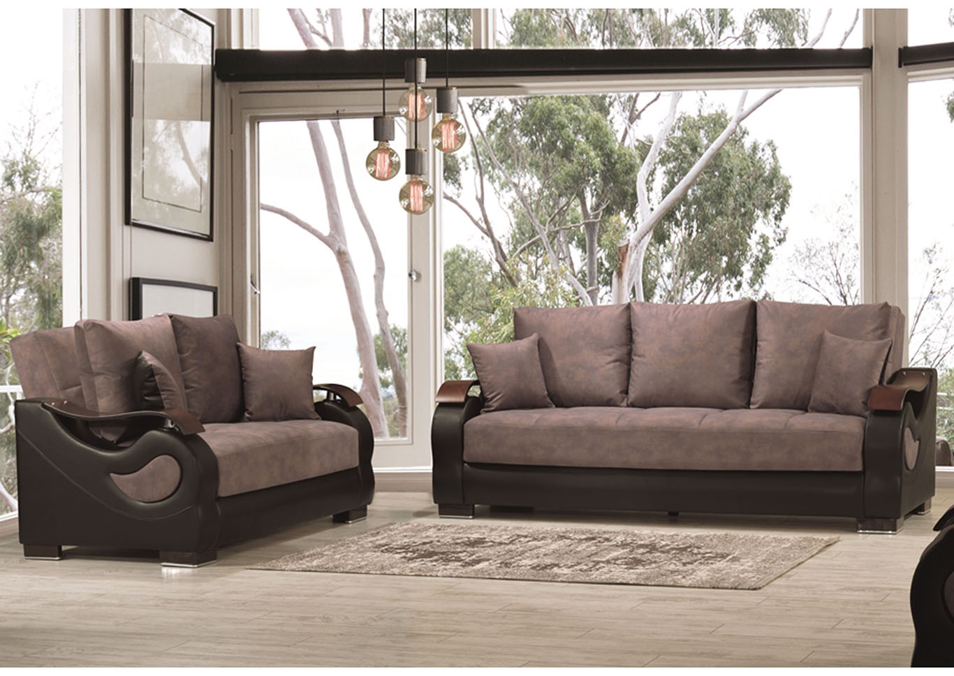 Metroplex Gray Microsuede Sofabed & Loveseat,CasaMode Functional Furniture