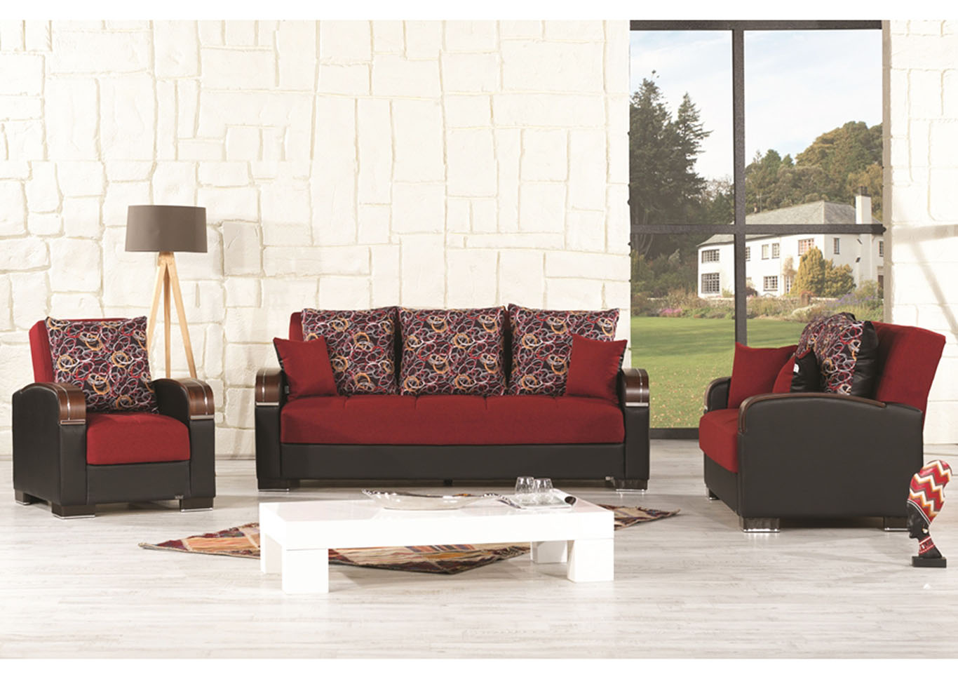 Mobimax Red Polysester Sofabed, Loveseat & Chair,CasaMode Functional Furniture