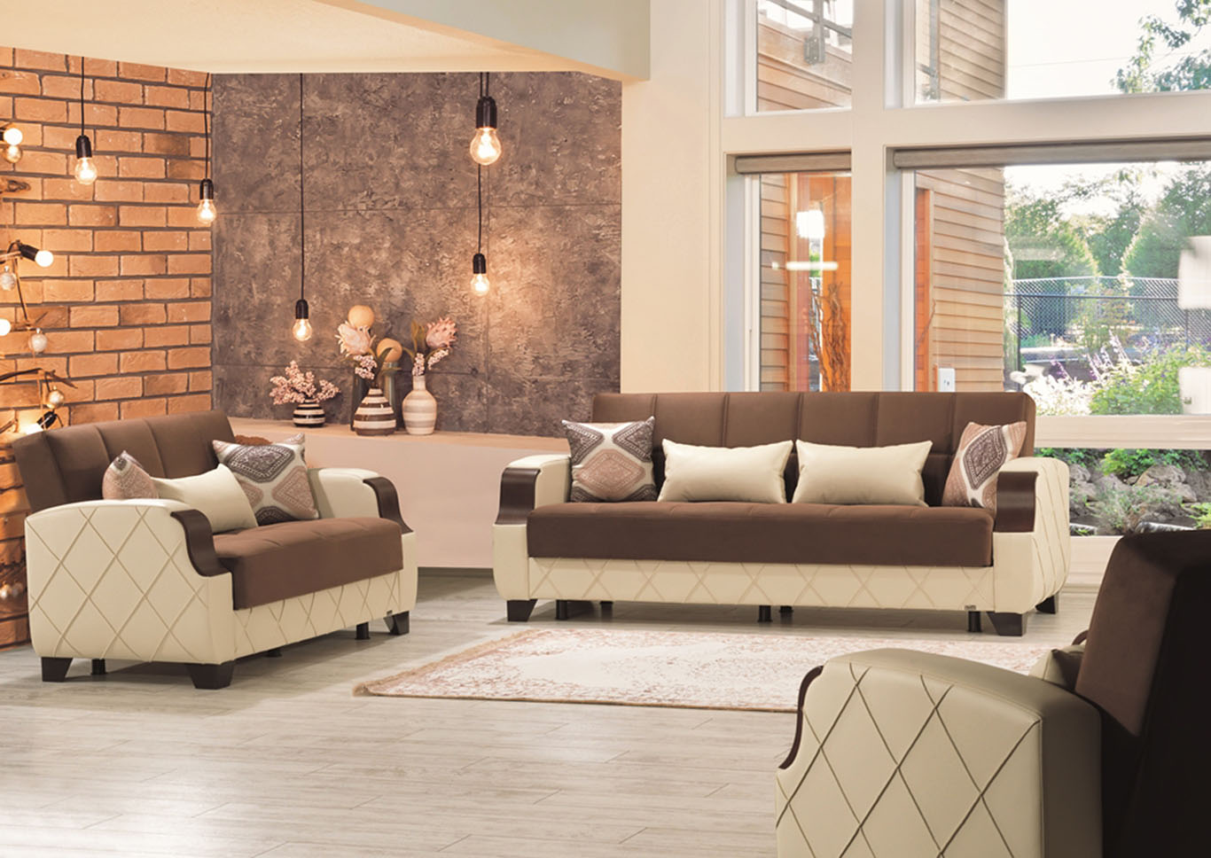 Molina Brown Microsuede Sofabed & Loveseat,CasaMode Functional Furniture