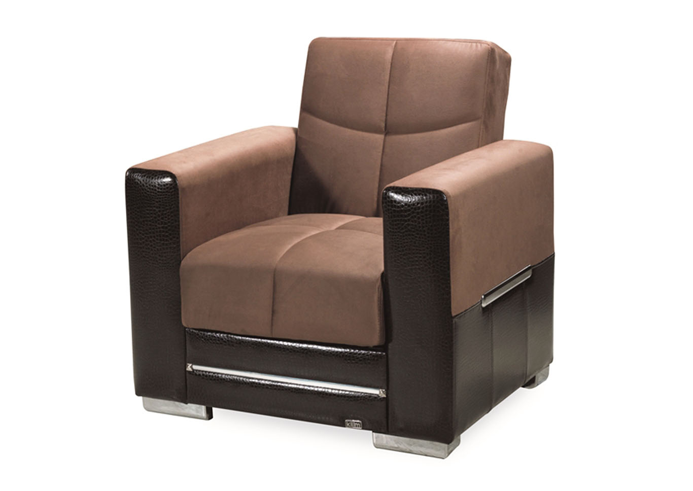 Monaco Brown/Brown Microsuede Arm Chair,CasaMode Functional Furniture