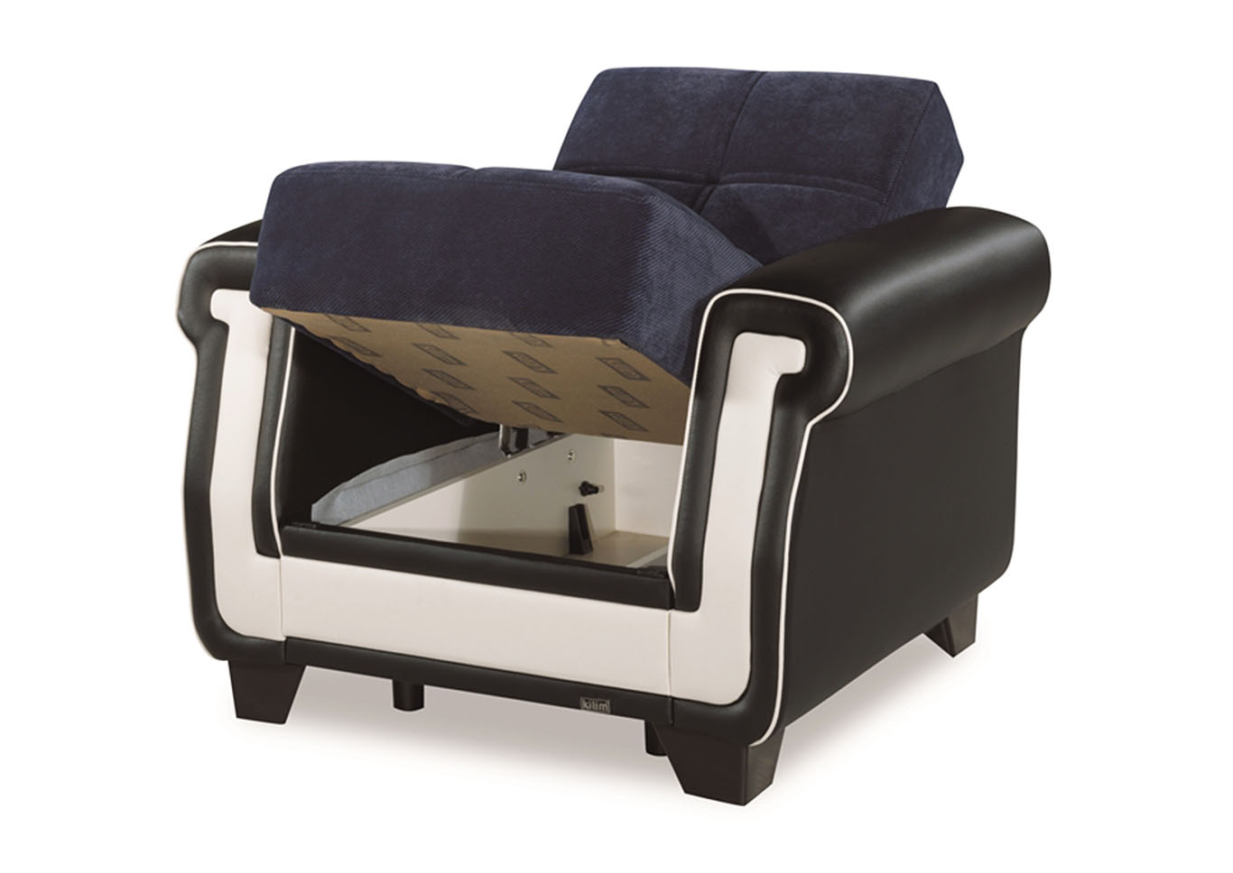 Proline Blue Microfiber Arm Chair,CasaMode Functional Furniture