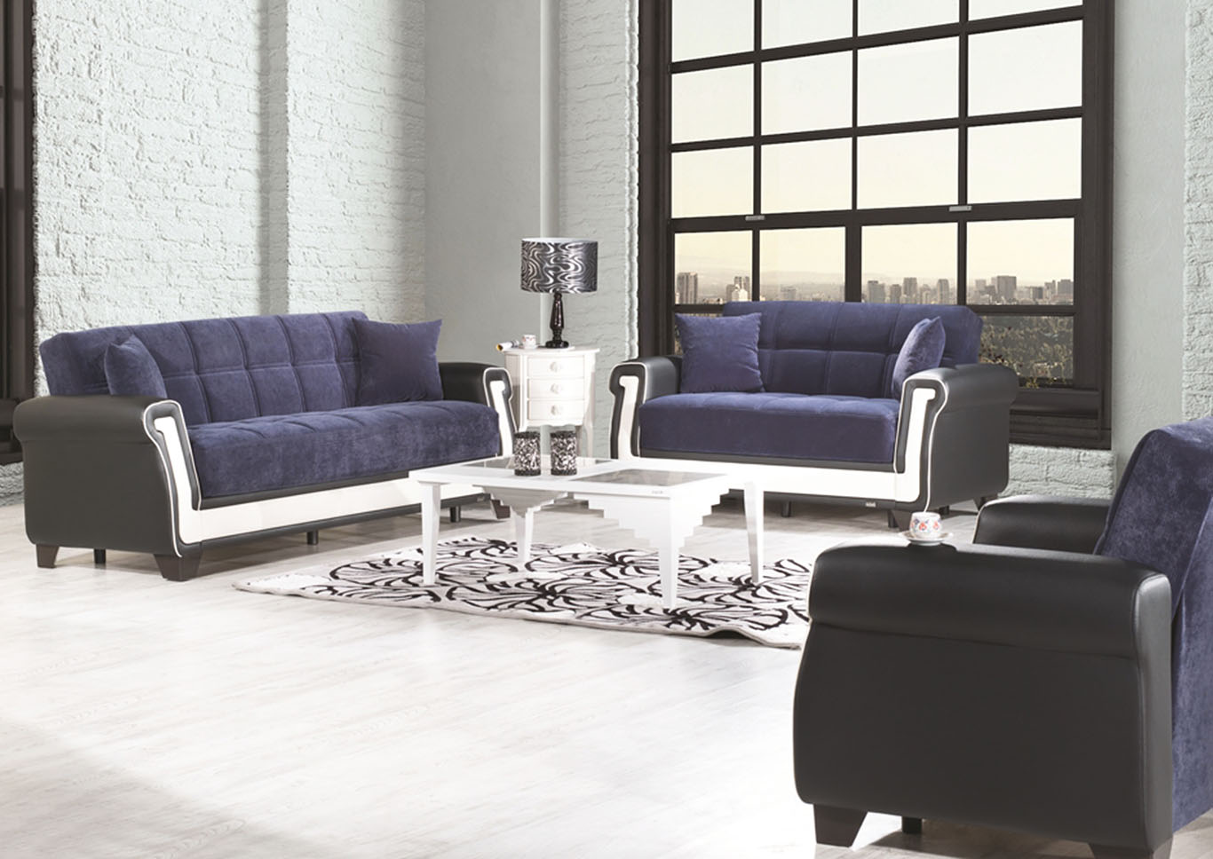 Proline Blue Microfiber Sofabed, Loveseat & Armchair,CasaMode Functional Furniture