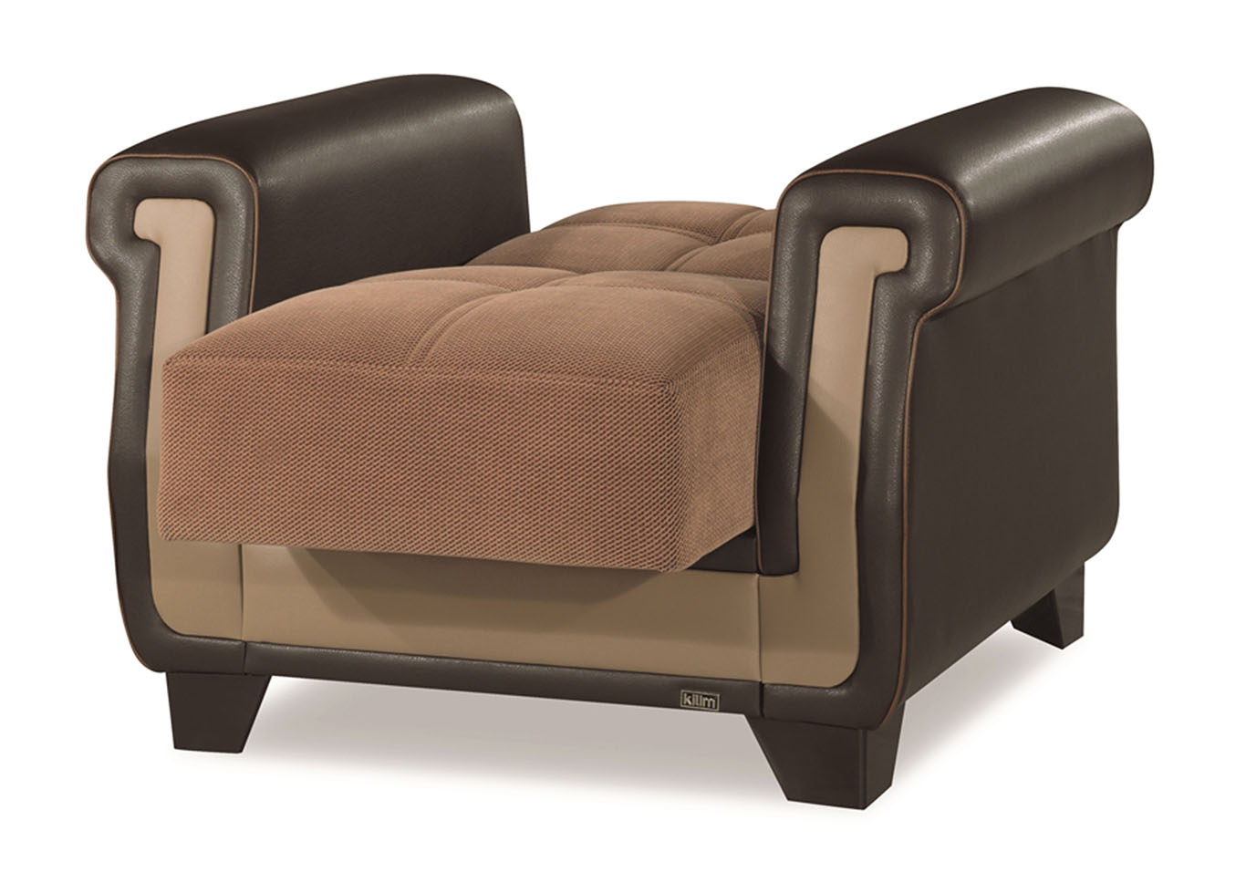 Proline Brown Microfiber Arm Chair,CasaMode Functional Furniture