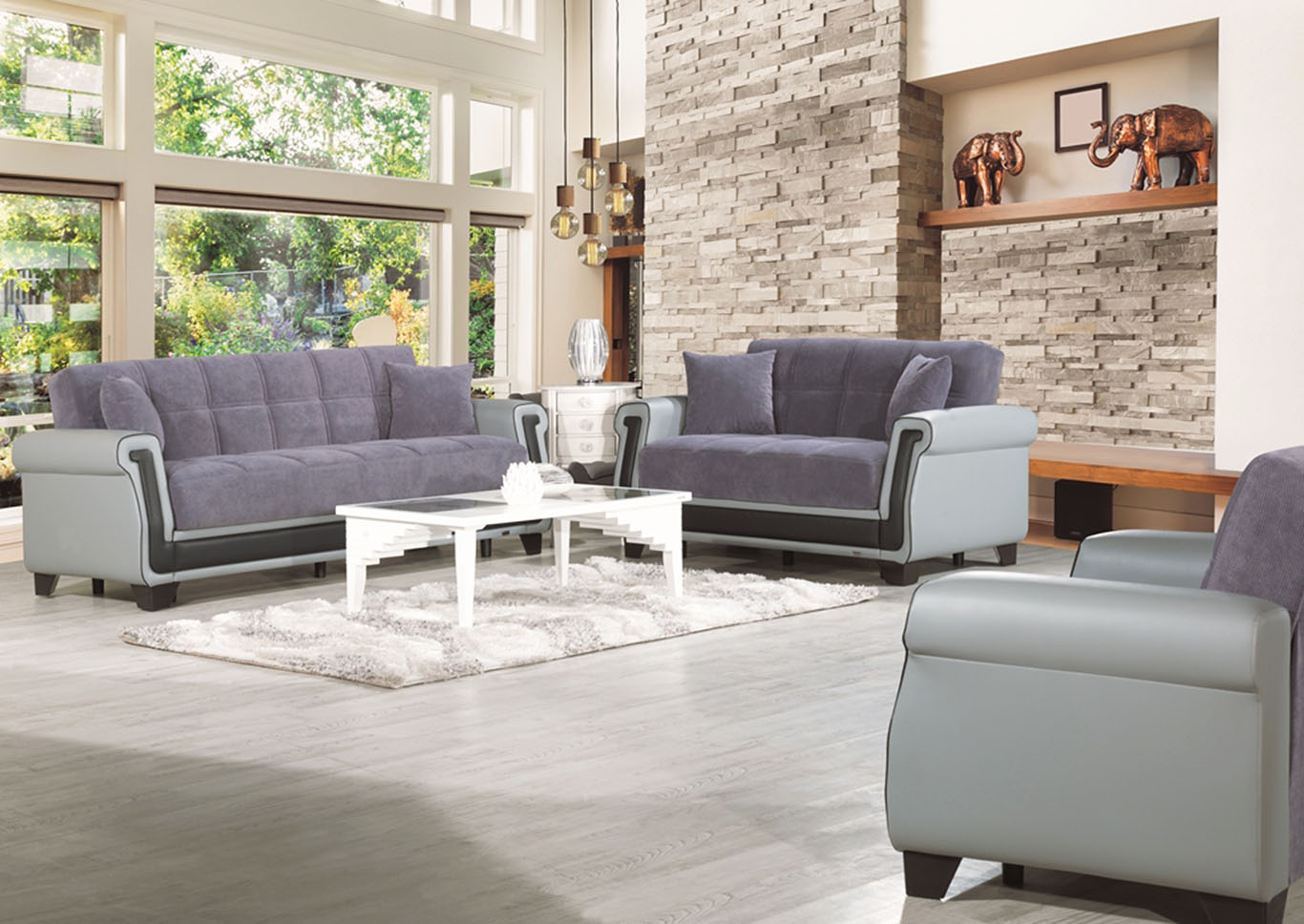 Proline Gray Microfiber Sofabed & Loveseat,CasaMode Functional Furniture