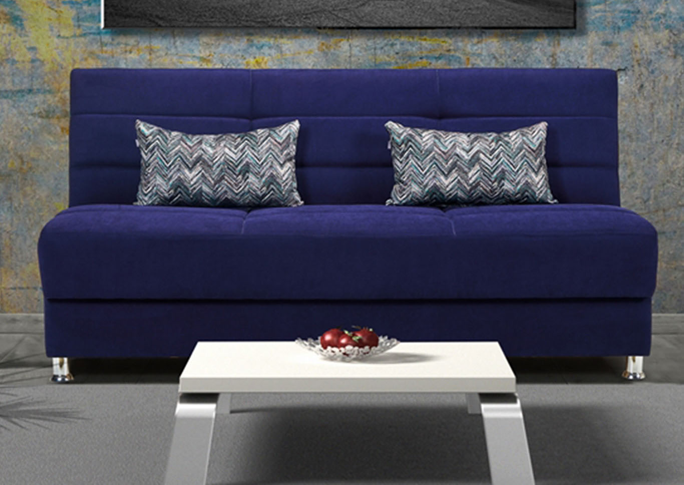 Rainbow Blue Chenille Sofabed,CasaMode Functional Furniture