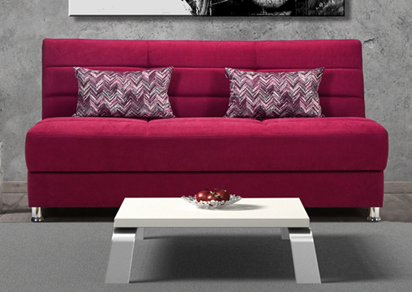 Rainbow Burgundy Chenille Sofabed,CasaMode Functional Furniture
