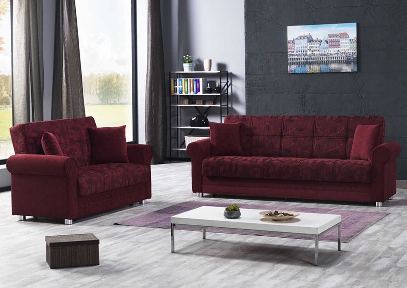 Rio Grande Burgundy Chenille Sofabed,CasaMode Functional Furniture