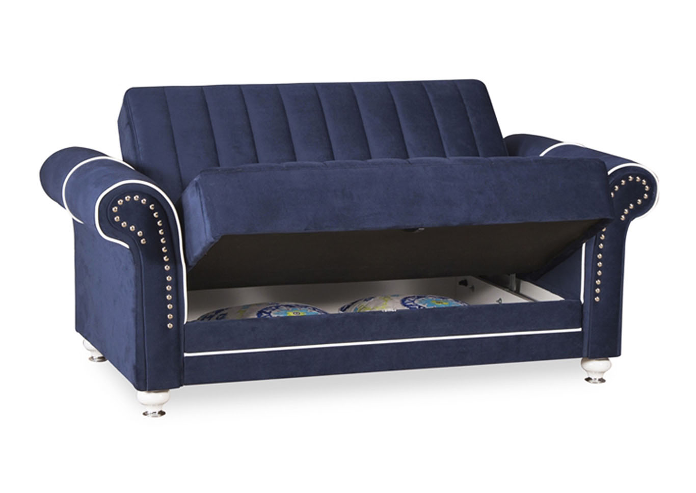 Royal Home Riva Dark Blue Microfiber Love Seat,CasaMode Functional Furniture