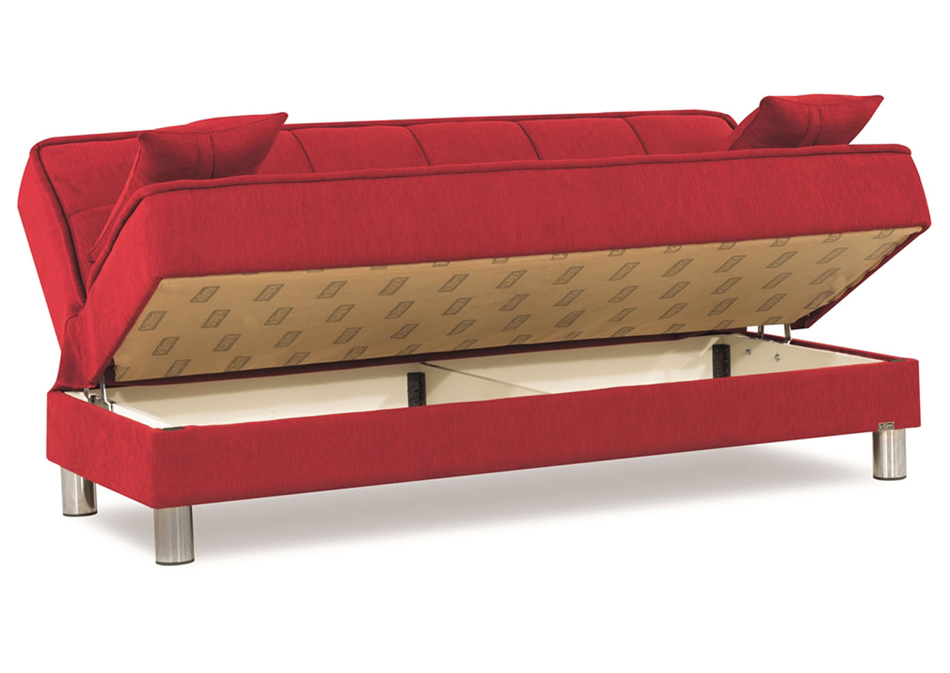 Smart Fit Red Chenille Sofabed,CasaMode Functional Furniture