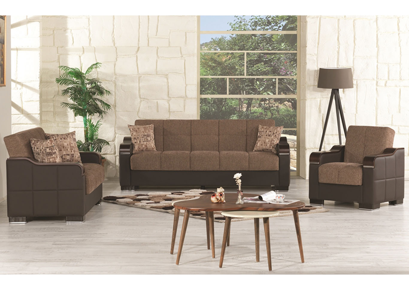 Uptown Brown Chenille Love Seat,CasaMode Functional Furniture