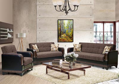 Image for Almira Brown Polyester Sofabed & Loveseat