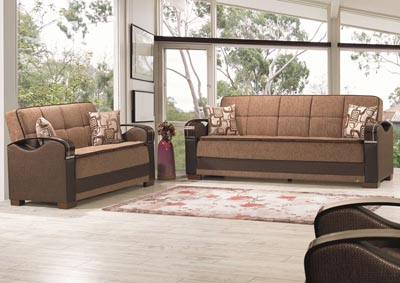 Bristol Brown Chenille Sofabed & Loveseat
