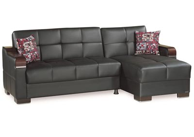 Image for Downtown Black PU Sectional L+C