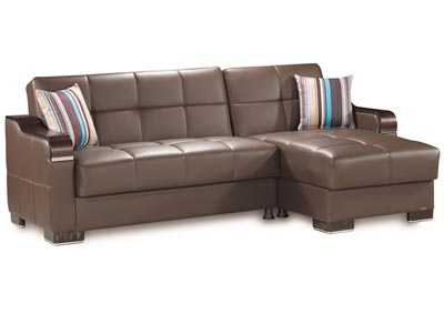 Image for Downtown Brown PU Sectional L+C