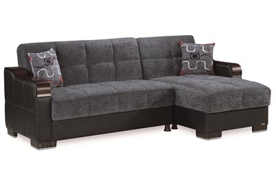 Image for Downtown Gray Chenille Sectional L+C