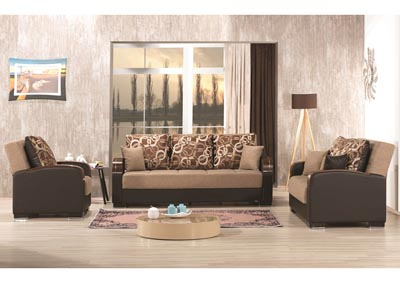 Mobimax Brown Polyester Sofabed, Loveseat & Chair