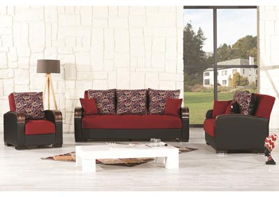 Mobimax Red Polysester Sofabed, Loveseat & Chair