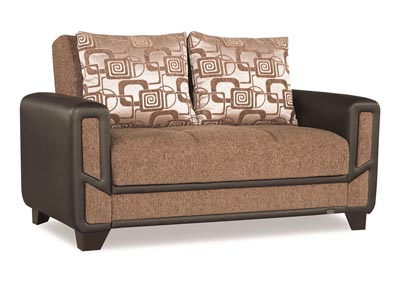 Mondo Brown Chenille Love Seat