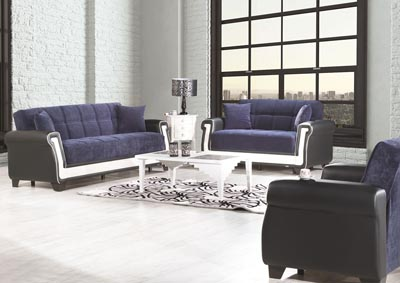 Proline Blue Microfiber Sofabed, Loveseat & Armchair