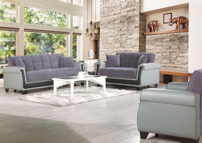 Proline Gray Microfiber Sofabed & Loveseat