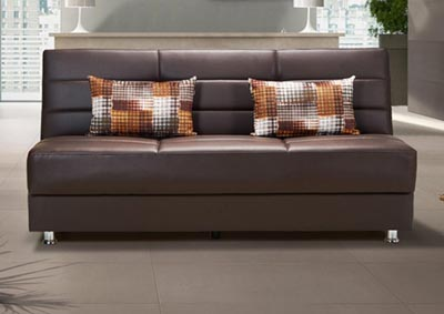 Rainbow Brown PU Sofabed