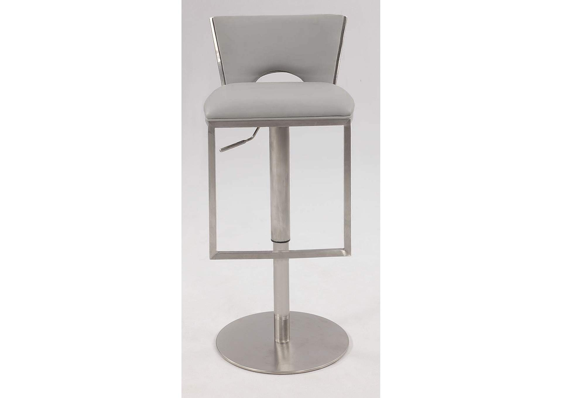 Light Grey Low Back Upholstered Pneumatic Gas Lift Adjustable Height Stool,Chintaly Imports