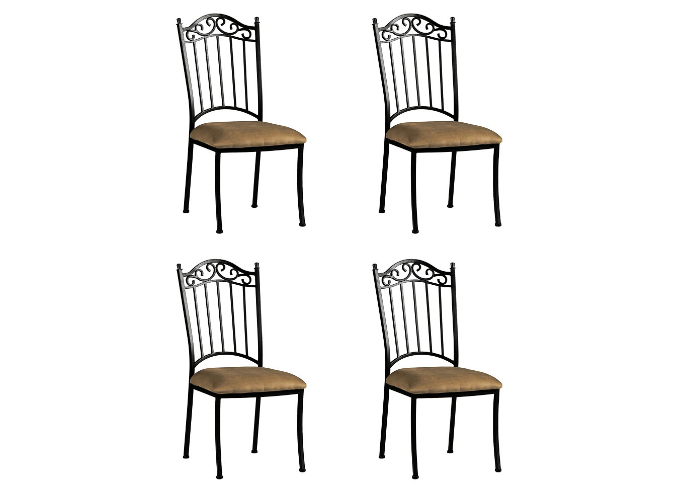 Antique Taupe Wrought Iron Side Chair (Set of 4),Chintaly Imports