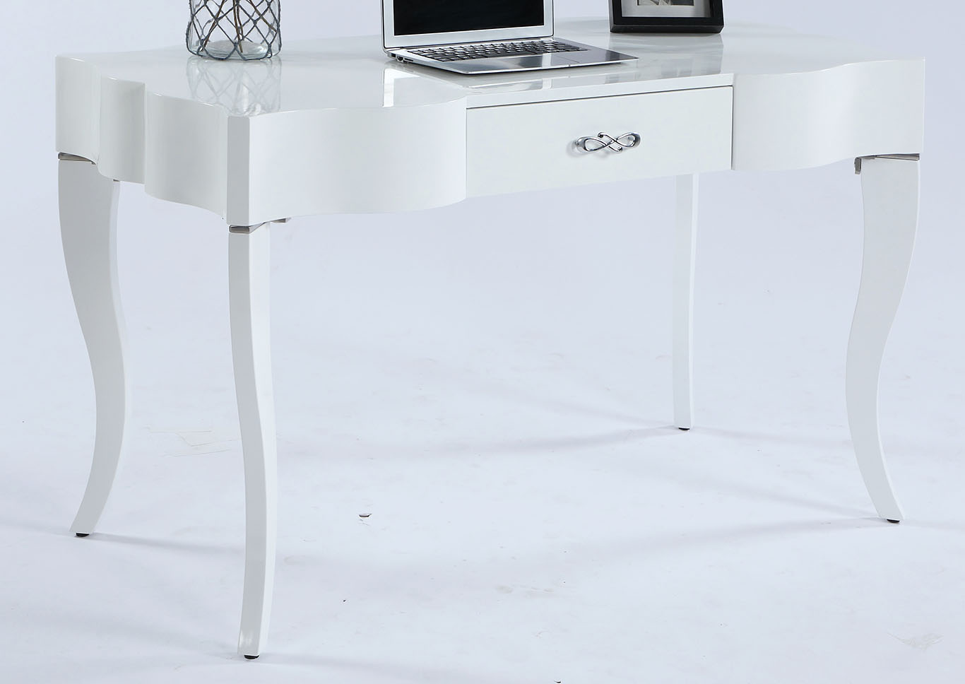 White Cabriolet Leg Computer Desk w/Drawer,Chintaly Imports
