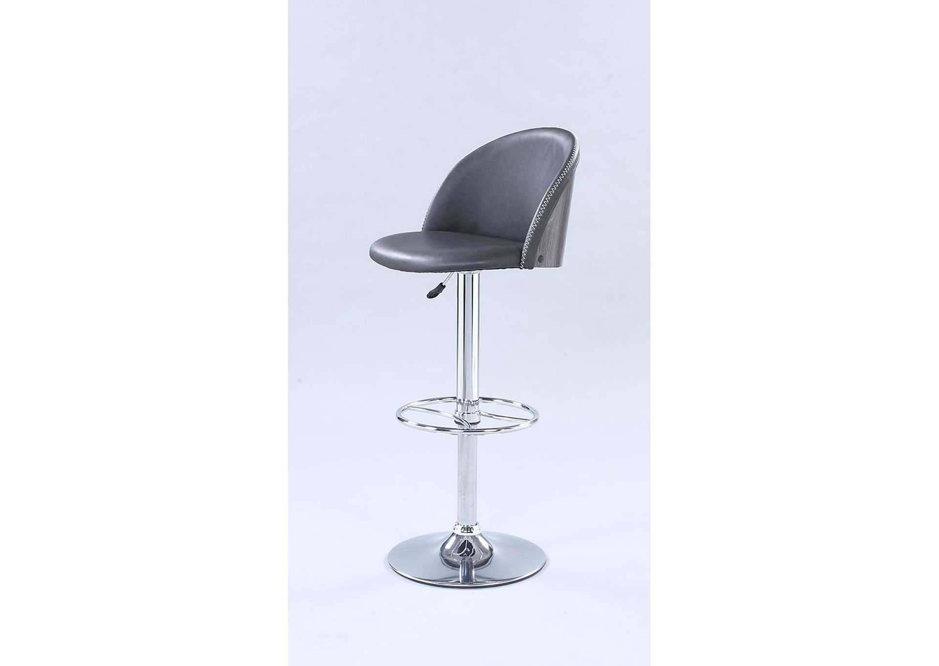 Grey Pneumatic Rounded Back Adjustable Stool,Chintaly Imports