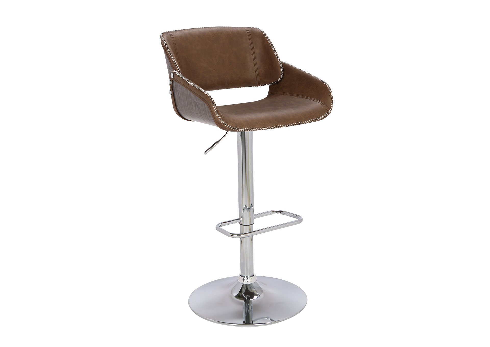 Chrome & Dark Oak Pneumatic Bentwood Saddle Seat Adjustable Stool w/ Stitching,Chintaly Imports